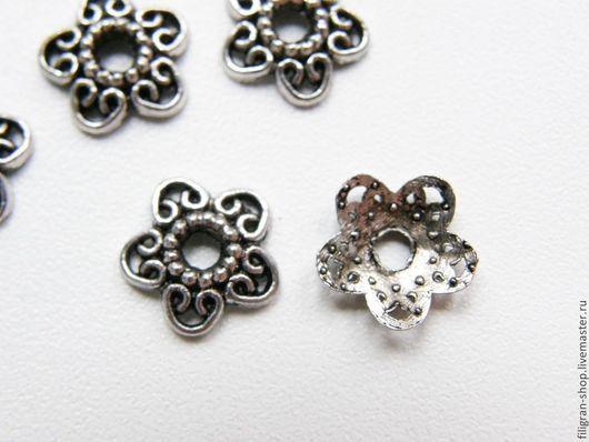 Для украшений ручной работы. Ярмарка Мастеров - ручная работа. Купить Колпачки для бусин 12 мм старинное серебро. Handmade.