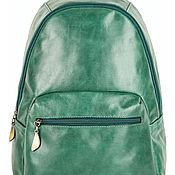 Сумки и аксессуары handmade. Livemaster - original item Leather backpack Violetta (green). Handmade.