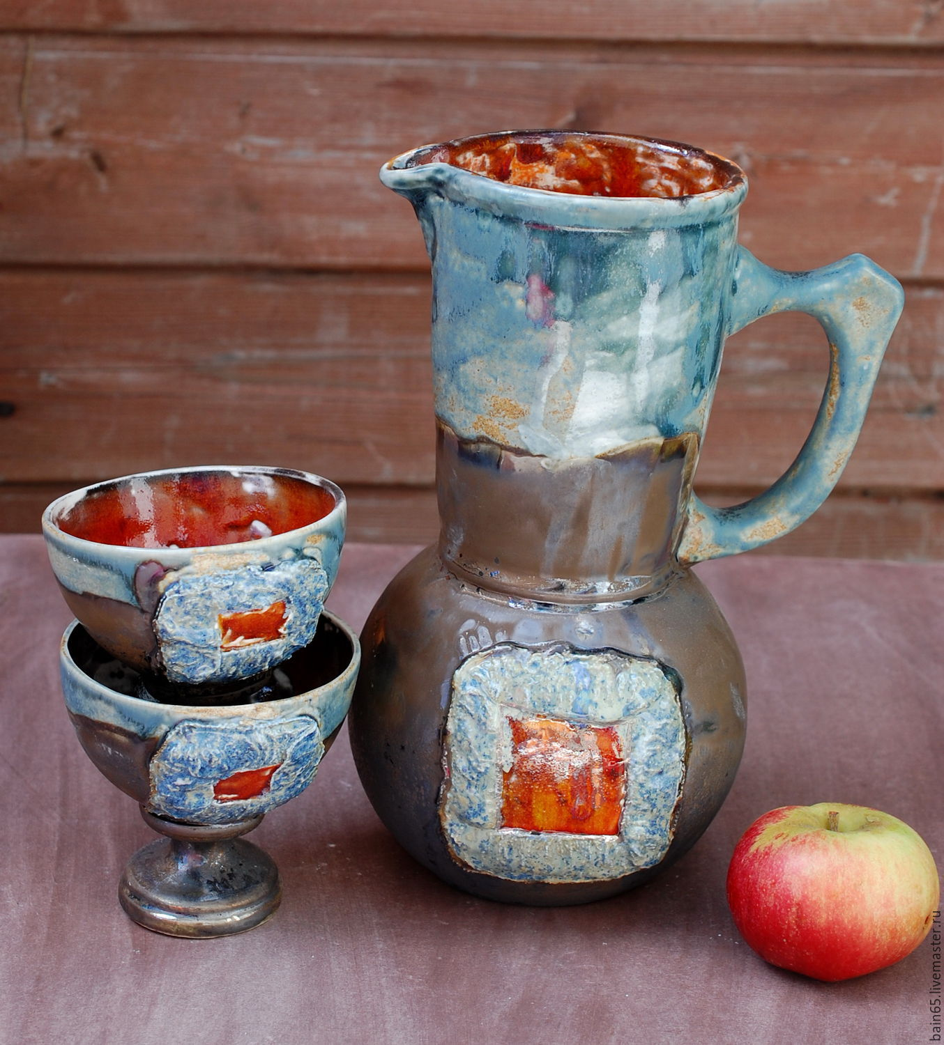 'Orange square'.The pitcher and glasses ceramic, Pitchers, Moscow, Фото №1