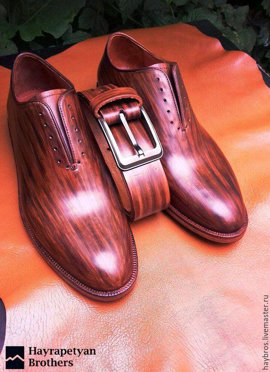 Обувь ручной работы. Ярмарка Мастеров - ручная работа. Купить мужские цельнокройные туфли ARM-48. Handmade. Коричневый, туфли
