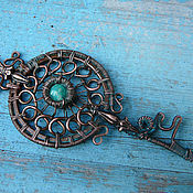 handmade. Livemaster - original item Pendant-key made of copper with amazonite