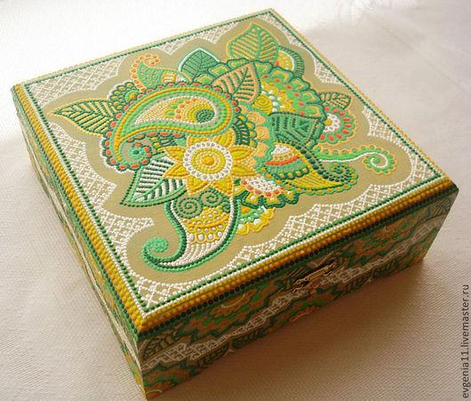 """Шкатулки ручной работы. Ярмарка Мастеров - ручная работа. Купить Шкатулка """"Индийские мотивы"""". Handmade. Зеленый, чайная шкатулка"""