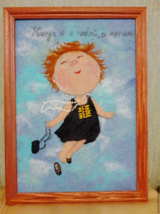 """Юмор ручной работы. Ярмарка Мастеров - ручная работа. Купить Картина из шерсти """"Летающий ангел"""". Handmade. Серебряный, картина в подарок"""