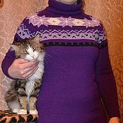 Одежда handmade. Livemaster - original item Hand knitted dress with jacquard pattern. Handmade.