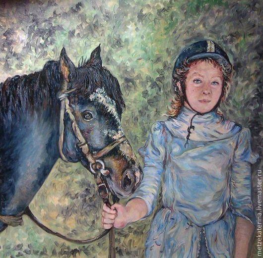 Животные ручной работы. Ярмарка Мастеров - ручная работа. Купить Девочка и пони. Handmade. Голубой, лошадь, жанровая картина, масло