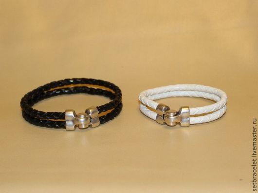 Украшения для мужчин, ручной работы. Ярмарка Мастеров - ручная работа. Купить Мужский кожаный браслет из кожи черной плетеный шнур 5мм. Handmade.