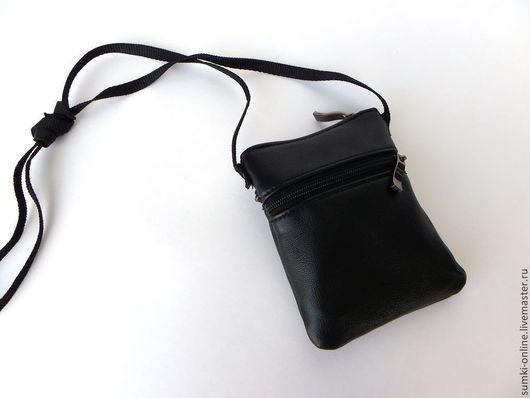 Мужские сумки ручной работы. Ярмарка Мастеров - ручная работа. Купить Кожаная сумка-карман с 3мя отделениями. Handmade. Черный
