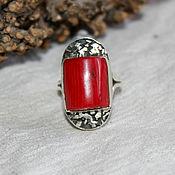 Кольца ручной работы. Ярмарка Мастеров - ручная работа Коралл натуральный в серебре кольцо. Handmade.