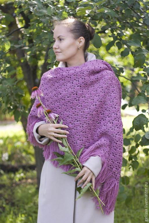 Шали и платки ручной работы. Ярмарка мастеров-ручная работа. Купить шаль `Цветок шиповника`. Handmade. Шаль розовая, полушерстяная.