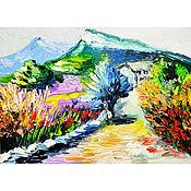 Картины и панно handmade. Livemaster - original item The road home. Provence. Miniature. Impasto.. Handmade.