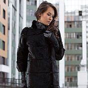 Одежда handmade. Livemaster - original item The coat is a chocolate Mink (rossiu)eco-leather 44 R. Handmade.