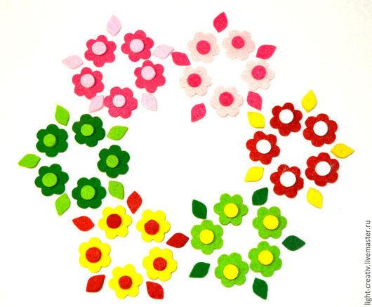 """Валяние ручной работы. Ярмарка Мастеров - ручная работа. Купить Набор микс вырубки из фетра """"Цветы № 15"""" ч/ш 3 мм. Handmade."""