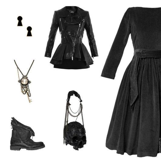 Платья ручной работы. Ярмарка Мастеров - ручная работа. Купить Платье из бархата. Handmade. Темно-серый, платье из бархата, косуха