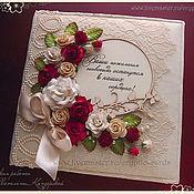 """Свадебный салон ручной работы. Ярмарка Мастеров - ручная работа Книга пожеланий """"Красные розы и кружево"""" разные цвета. Handmade."""