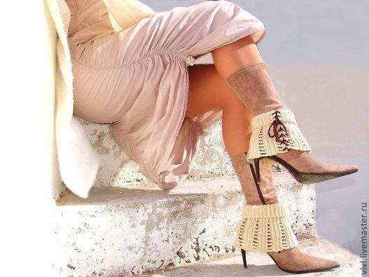 Носки, Чулки ручной работы. Ярмарка Мастеров - ручная работа. Купить Вязанные  гетры на сапоги. Handmade. Аксессуары для ног, сексуальное
