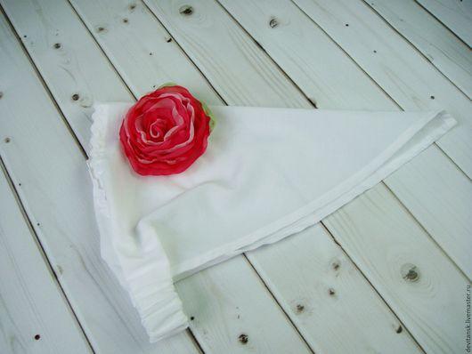 Шапки и шарфы ручной работы. Ярмарка Мастеров - ручная работа. Купить Белая косынка для девочки с ярким цветком. Handmade. Белый