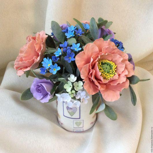 """Букеты ручной работы. Ярмарка Мастеров - ручная работа. Купить Букет из полимерной глины """"Цветы в кружке для любимой подружки"""". Handmade."""