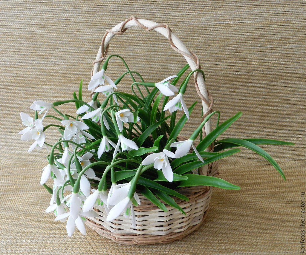 Basket with snowdrops made of polymer clay, Composition, Voskresensk,  Фото №1