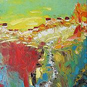"""Картины и панно ручной работы. Ярмарка Мастеров - ручная работа """"Золотоносный ручей"""" 70х100 см большая картина маслом мастихином. Handmade."""