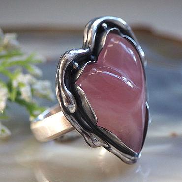 Decorations handmade. Livemaster - original item Rose quartz, silver: Suok doll Heart ring