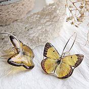 Украшения ручной работы. Ярмарка Мастеров - ручная работа Прозрачные серьги бабочки. Handmade.