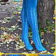 Аксессуары. Носки, чулки. Чулки, колготки. Ярмарка мастеров- ручная работа. Чулки вязаные `Октябрь`  купить.  Handmade. Чулки. Гольфы. Бирюзовый.  Магазин мастера Доминика.