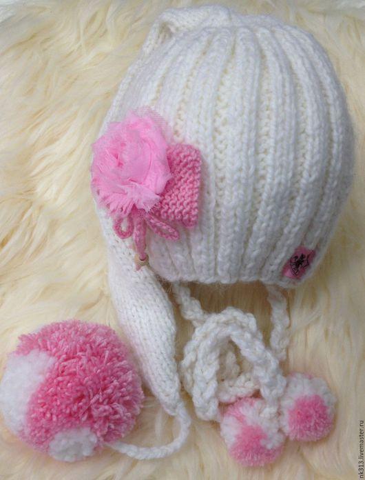 Шапки и шарфы ручной работы. Ярмарка Мастеров - ручная работа. Купить Шапочка для девочки. Handmade. Белый, цветы из ткани