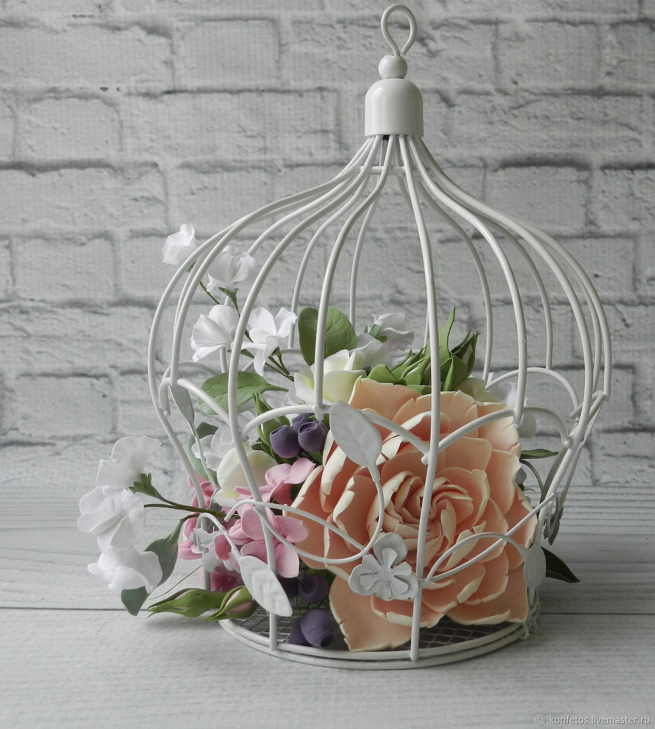 Interior decoration-a cage with flowers, Composition, Voskresensk,  Фото №1