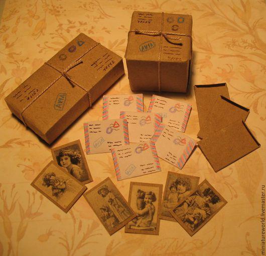 Миниатюра ручной работы. Ярмарка Мастеров - ручная работа. Купить Посылки и письма 1:12. Handmade. Разноцветный, открытка, почтовая упаковка