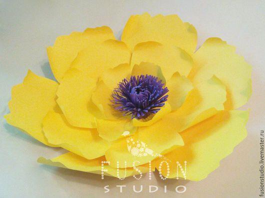 Праздничная атрибутика ручной работы. Ярмарка Мастеров - ручная работа. Купить Бумажные цветы. Handmade. Желтый, бумажные цветы, картон