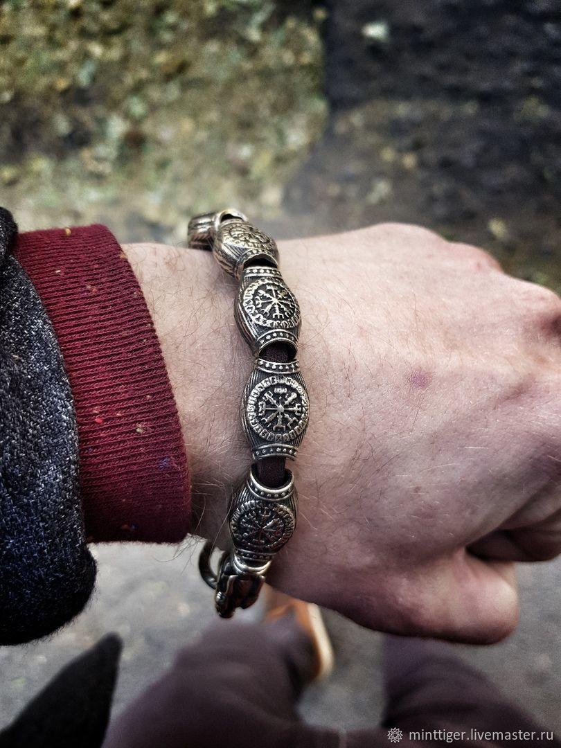 Bracelet male leather - ' Wolf', Bead bracelet, Volgograd,  Фото №1