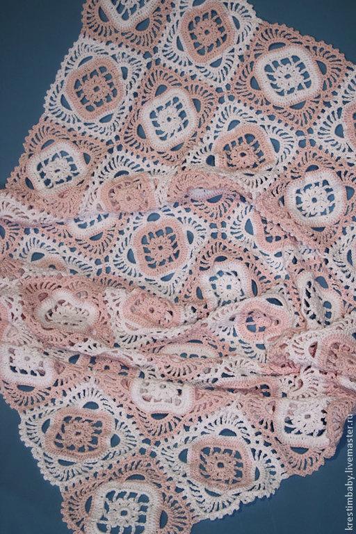 """Пледы и одеяла ручной работы. Ярмарка Мастеров - ручная работа. Купить Плед """"Розовая нежность"""". Handmade. Кремовый, плед для новорожденного"""