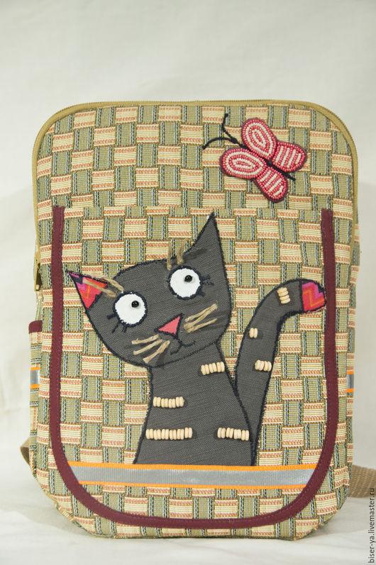 """Детские аксессуары ручной работы. Ярмарка Мастеров - ручная работа. Купить Детский рюкзак с аппликацией """"Котенок"""". Handmade. Комбинированный, котенок"""
