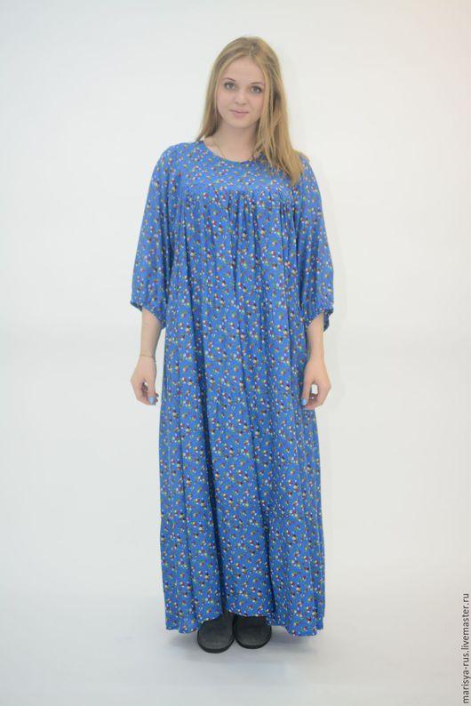 """Платья ручной работы. Ярмарка Мастеров - ручная работа. Купить Платье """"Голубой огонек"""". Handmade. Синий, свободное платье"""
