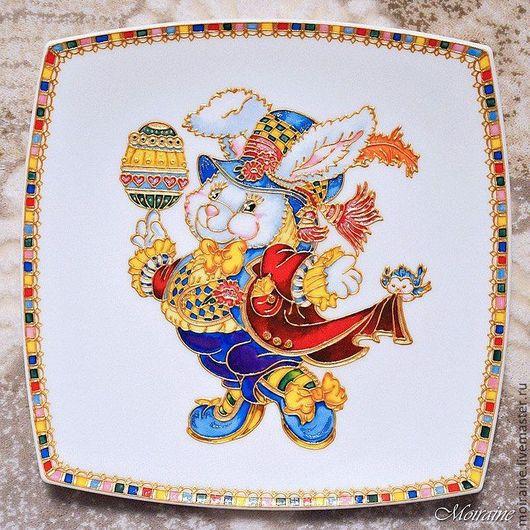 """Подарки на Пасху ручной работы. Ярмарка Мастеров - ручная работа. Купить """"Пасхальный кролик"""" - большая тарелка .. Handmade. Пасха"""