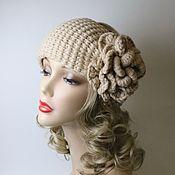 Аксессуары handmade. Livemaster - original item The headband is light beige with a flower. Handmade.