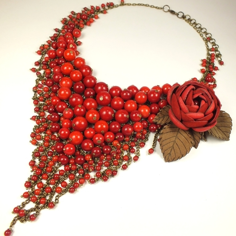 Pure Angel. Necklace of red coral and brooch made of genuine leather, Jewelry Sets, St. Petersburg,  Фото №1