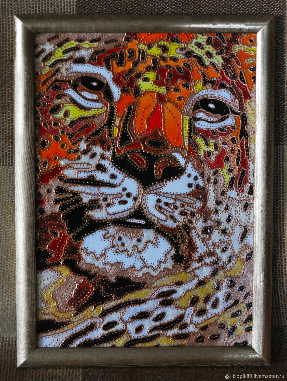 """Витражная роспись """"Леопард"""", Картины, Кострома, Фото №1"""