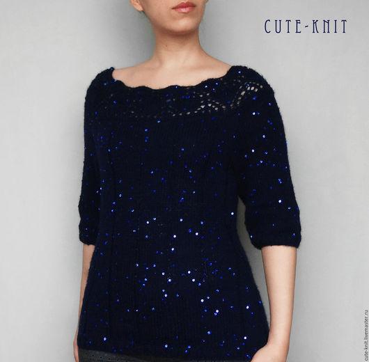 Чтобы лучше рассмотреть модель, нажмите на фото. CUTE-KNIT Ната Онипченко Ярмарка мастеров Купить нарядную кофточку синего цвета