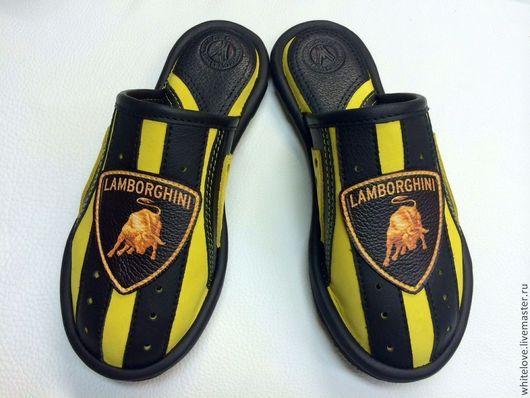 """Обувь ручной работы. Ярмарка Мастеров - ручная работа. Купить Кожаные  тапочки """" Ламборджини"""". Handmade. Желтый, мужская обувь"""