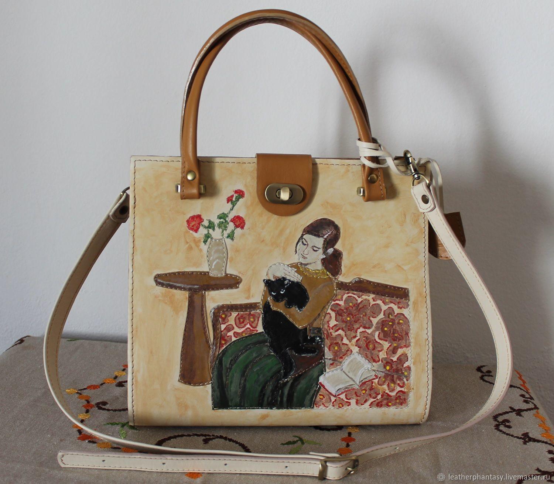 69900f3eb954 Женские сумки ручной работы. Ярмарка Мастеров - ручная работа. Купить  Женская коричневая бежевая кожаная ...