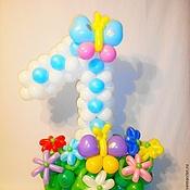 Подарки к праздникам ручной работы. Ярмарка Мастеров - ручная работа Цифра один белая из воздушных шаров.. Handmade.