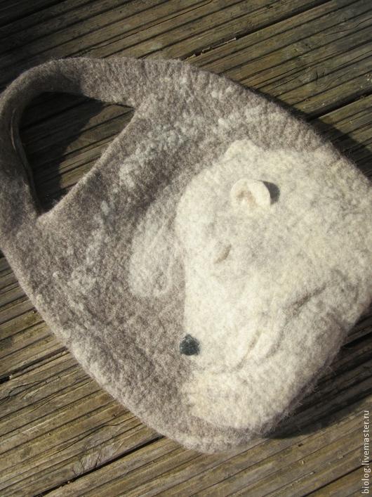 """Женские сумки ручной работы. Ярмарка Мастеров - ручная работа. Купить Авторская сумка """"мой миша"""" валяная сумка, необычная, большая. Handmade."""