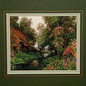 Картины и панно handmade. Livemaster - original item Cross stitch Old shack. Handmade.