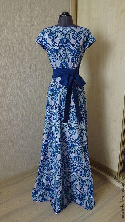 Платья ручной работы. Ярмарка Мастеров - ручная работа. Купить Синее платье в пол. Handmade. Синий, платье на заказ