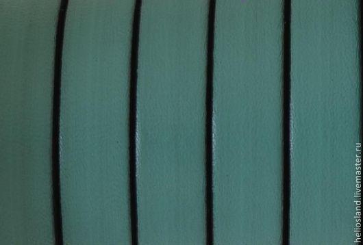 Для украшений ручной работы. Ярмарка Мастеров - ручная работа. Купить Кожаный шнур плоский 10 мм морская волна. Handmade.