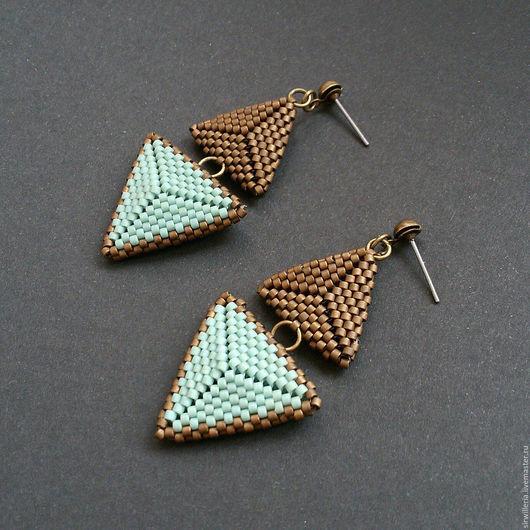 Серьги ручной работы. Ярмарка Мастеров - ручная работа. Купить Серьги - треугольники. Handmade. Бронзовый, нежный, треугольники, серьги купить