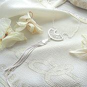 Necklace handmade. Livemaster - original item Pendant Brush on very long chain, decoration brush white. Handmade.