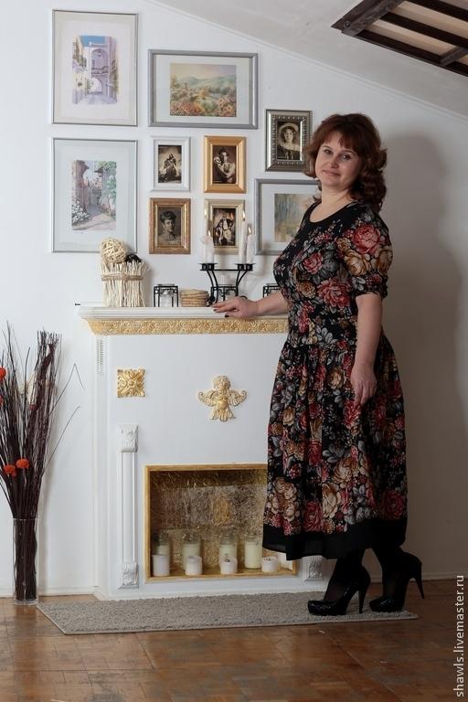 """Платья ручной работы. Ярмарка Мастеров - ручная работа. Купить Платье """"Цветочная сказка"""" из павловопосадского платка. Handmade. Разноцветный"""