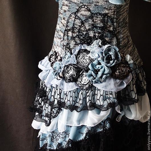 Платья ручной работы. Ярмарка Мастеров - ручная работа. Купить Платье «Лунная соната».. Handmade. Голубой, многослойность, авторская одежда